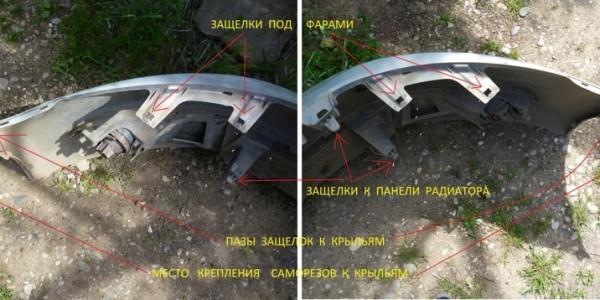 Расположение защелок бампера